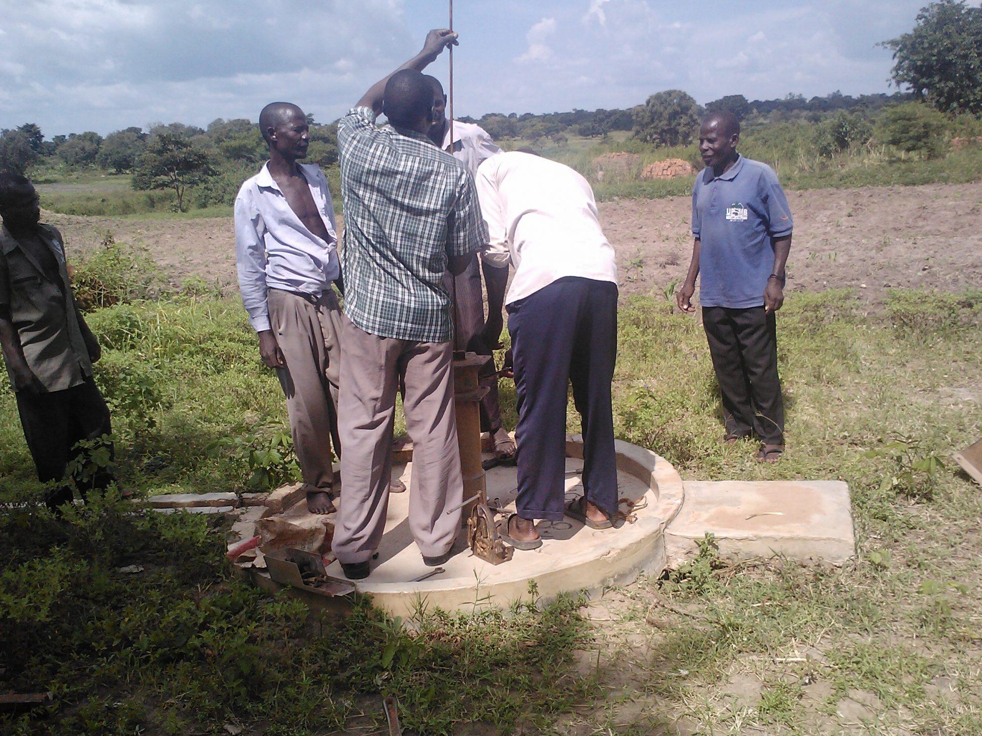 Local NGO partner WAACHA rehabilitating a borehole in Kaliro District